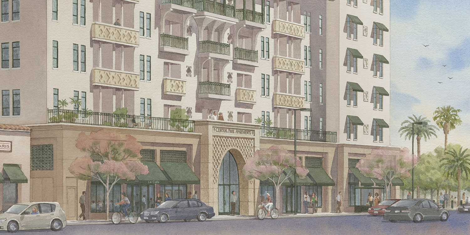 Rendering of Central Part Apartments entrance
